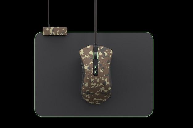 Souris de jeu camouflage moderne sur pad professionnel