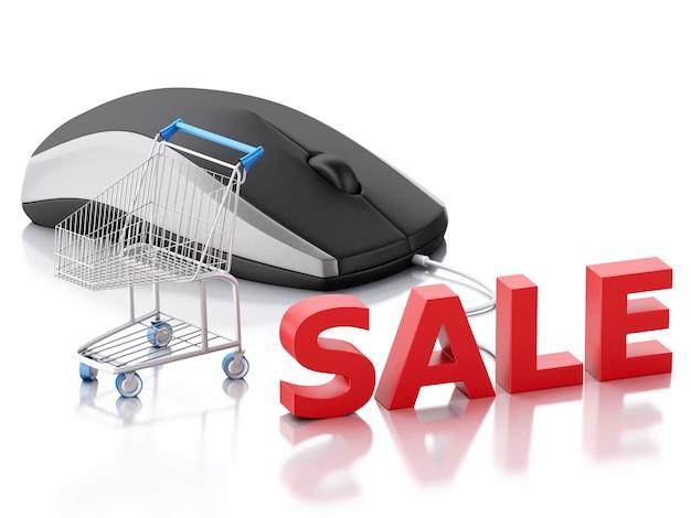 Souris d'ordinateur 3d et panier d'achat. commerce électronique