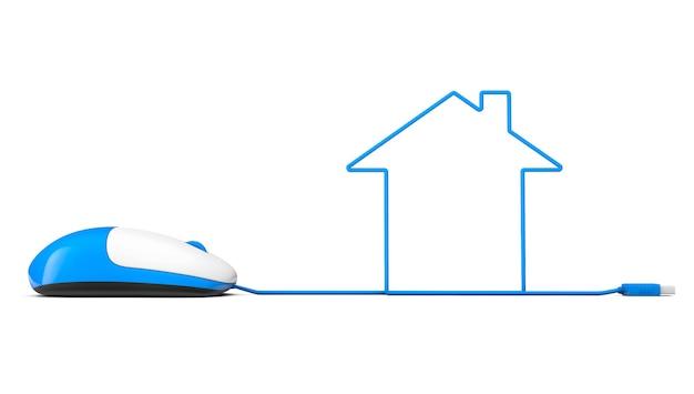 Souris d'ordinateur et câbles sous forme de maison sur fond blanc