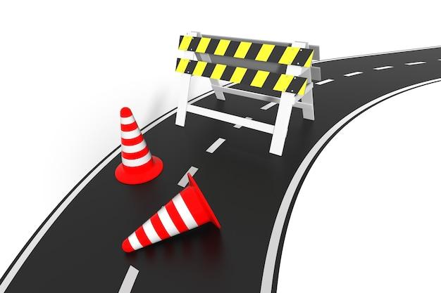 Sous le concept de construction. barrière barrière 3d sur la route.