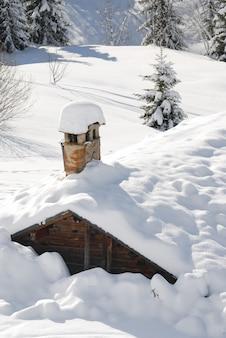 Sous la neige dans les alpes françaises