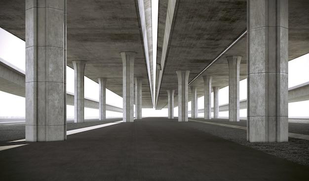 Sous la structure en béton de l'autoroute. rendu 3d