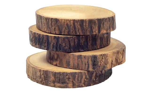 Sous-verres de bière ou de café en bois isolés