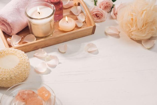 Spa et aromathérapie fleur de rose et huile essentielle