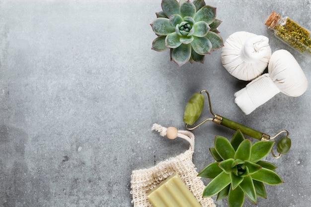 Spa et soins de la peau cosmétiques maison. bouteilles de produits cosmétiques spa sur fond pastel.