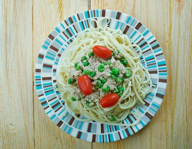 Spaghetti au pesto de thon et pois verts