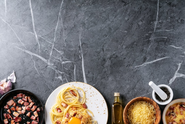 Spaghetti italienne classique alla carbonara