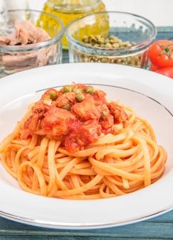 Spaghetti sauce au thon et câpres