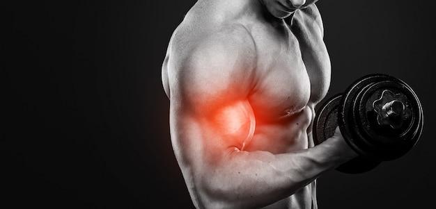 Spécialisation Pour Biceps En Musculation. Homme Travaillant Avec Un Haltère. Photo Premium