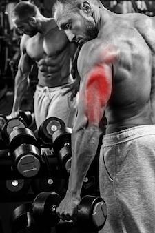 Spécialisation Triceps En Musculation. Homme Musclé Pendant L'entraînement Dans La Salle De Gym. Photo Premium