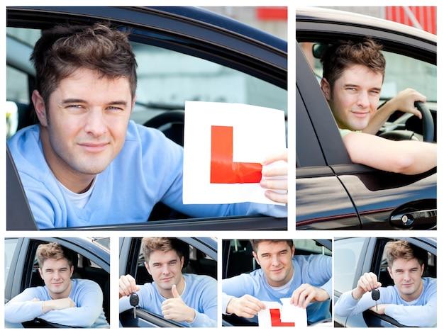 Spectacle d'adolescent heureux tenant une clé de voiture moderne et une plaque d'apprenti assis au volant
