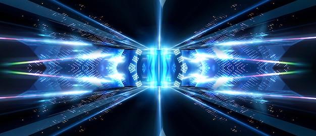 Spectacle de lumière néon et laser. laser formes futuristes sur fond sombre. néon bleu, réflexion symétrique