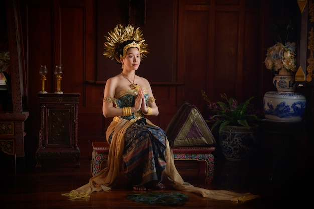 Spectacle thai khon à ayutthaya, thaïlande