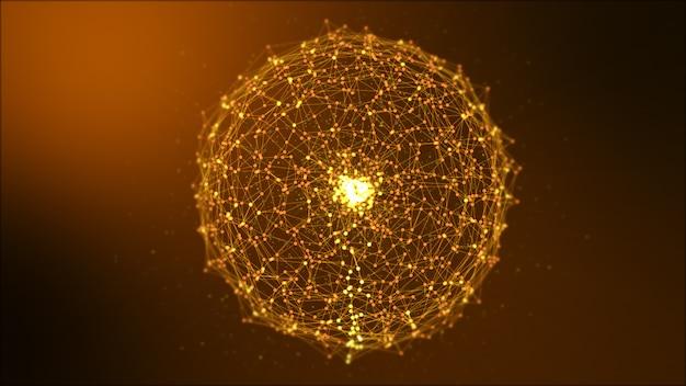 Sphère abstraite des noeuds du système de données numériques brun foncé et des chemins de connexion.