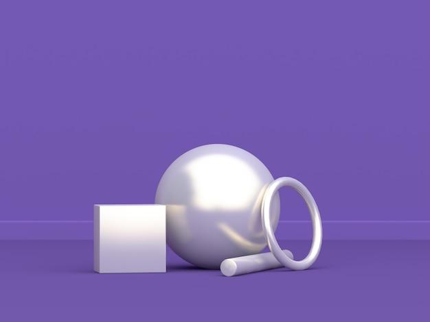 Sphère bague géométrique forme blanche minimal abstrait violet