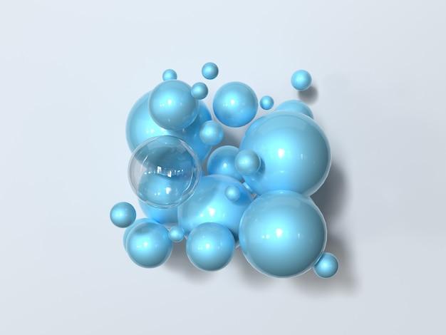 Sphère bleue abstraite brillant rendu 3d