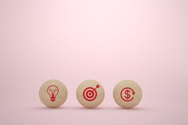 Sphère de buwooden avec la stratégie commerciale et le plan d'action des icônes