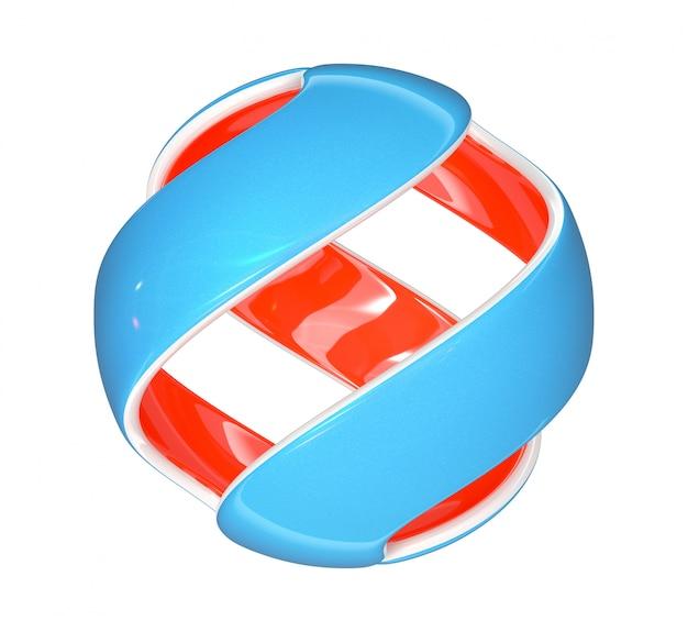 Sphère de couleur coupée en 3d sur fond blanc. rendu 3d.