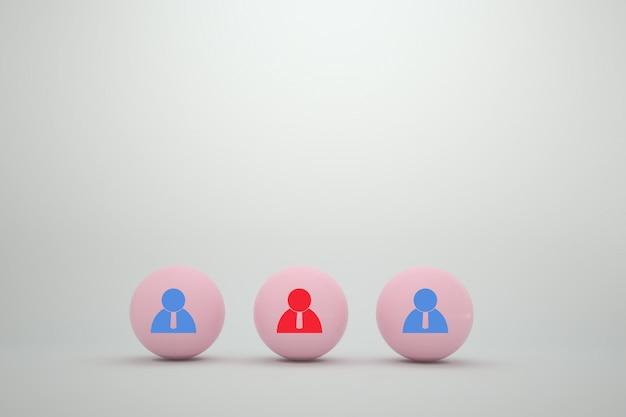 Sphère de couleur rose avec l'icône de contacts sur blanc