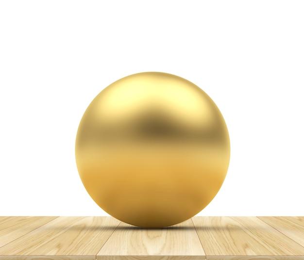 Sphère dorée sur un bois