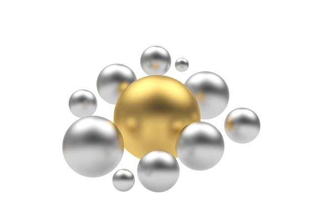 Sphère dorée avec un groupe de sphères d'argent. 3d