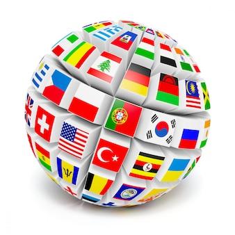 Sphère globe 3d avec des drapeaux du monde