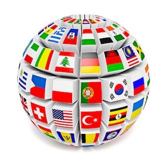 Sphère globe avec drapeaux du monde