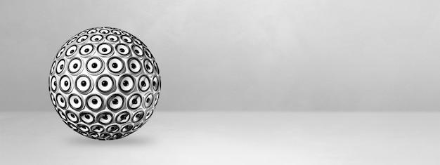 Sphère de haut-parleurs isolée sur une bannière de studio vide. illustration 3d
