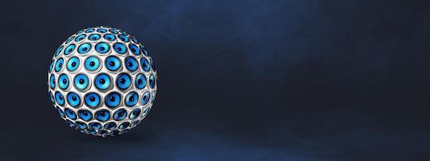 Sphère de haut-parleurs isolée sur un bleu foncé