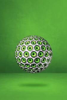 Sphère de haut-parleurs isolée sur un fond de studio vert. illustration 3d