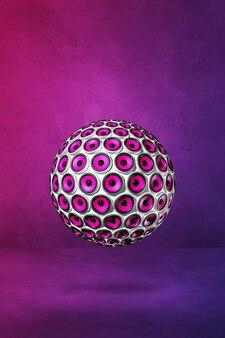Sphère de haut-parleurs sur un mur violet. illustration 3d