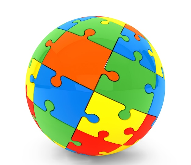Sphère de puzzles sur fond blanc
