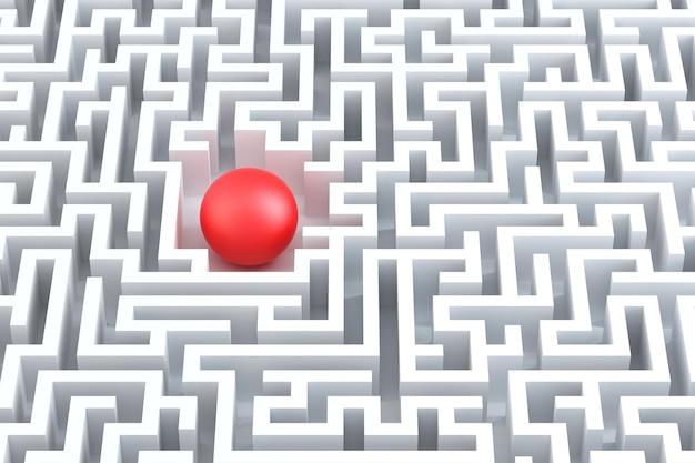Sphère rouge au centre du labyrinthe.