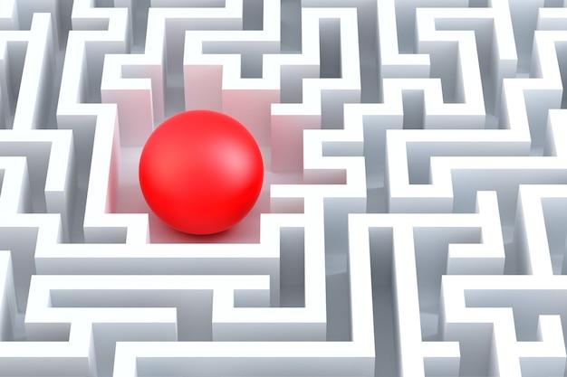 Sphère rouge dans un labyrinthe abstrait. illustration 3d