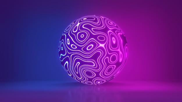 Sphère rougeoyante ultraviolet néon rose bleu boule disco fond connexions réseau spectacle laser
