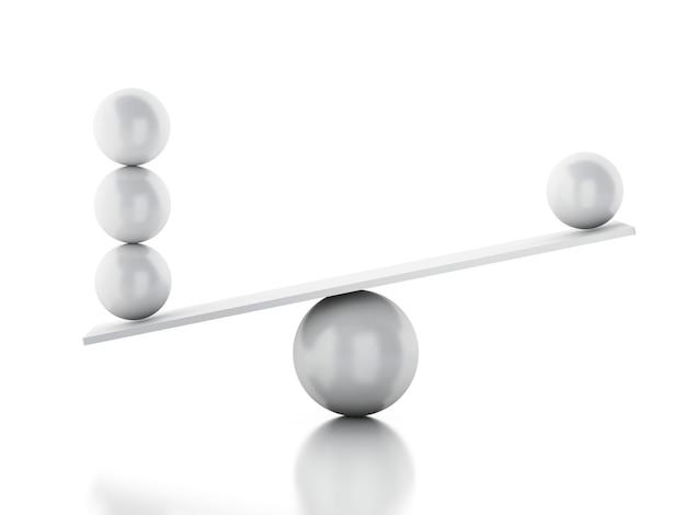 Sphères 3d en équilibre sur une balançoire.