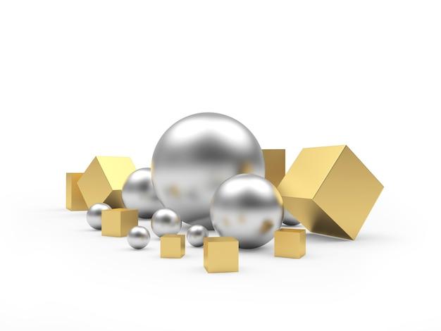 Sphères d'argent et cubes dorés de différentes tailles