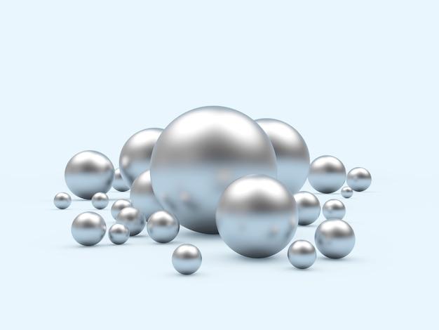 Sphères d'argent de différentes tailles