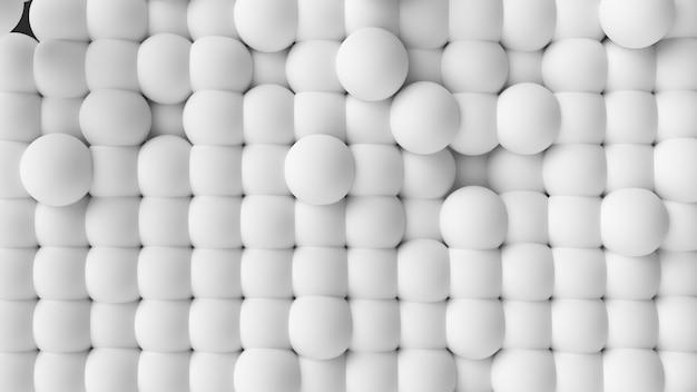 Sphères blanches de fond abstrait avec des sphères 3d dynamiques.