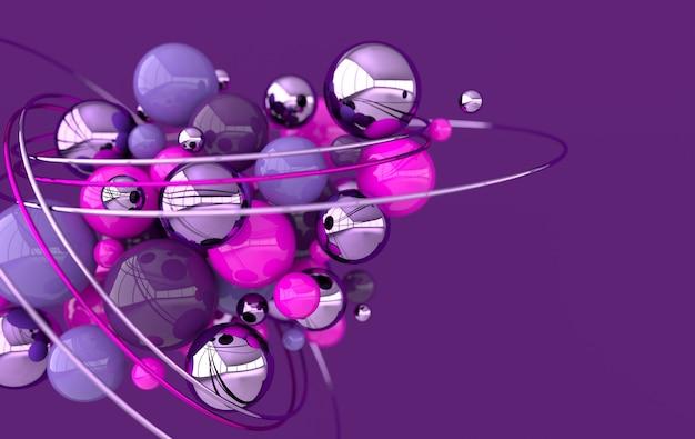 Sphères chaotiques abstrait géométrique formes primitives couleurs roses et violets