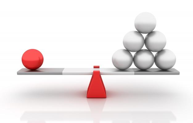 Sphères en équilibre sur une bascule