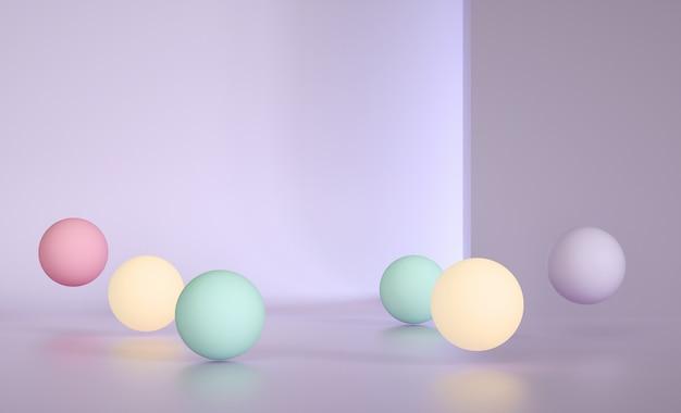 Sphères multicolores dans une pièce lumineuse