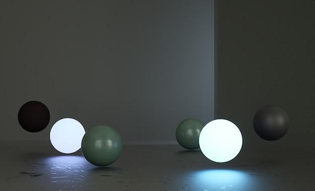 Sphères multicolores dans une pièce sombre