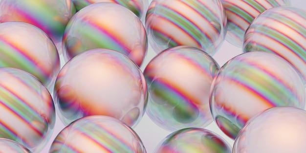 Sphères réfléchissantes blanches d'illustration 3d avec des rayures colorées