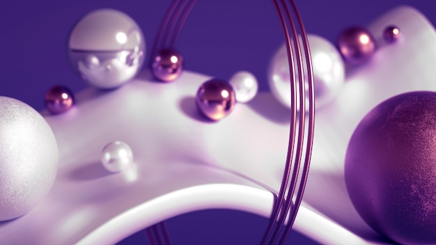 Sphères volantes, tores, tubes, cônes et cristaux en mouvement.beau minimalisme d'abstraction