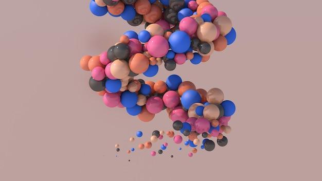 Spirale avec des boules colorées. illustration abstraite, rendu 3d.