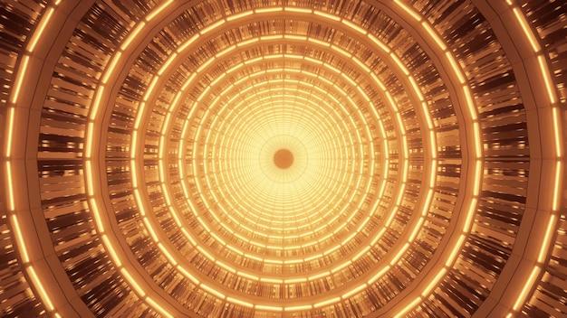 Spirale dorée brillante avec de beaux effets de lumière orange abstraits