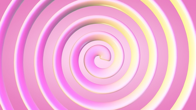 Spirale jaune-rose sur fond rose.