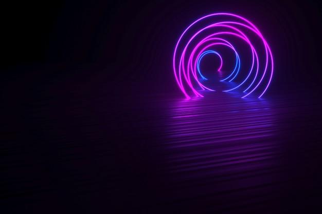 Spirale néon isolée sur fond noir