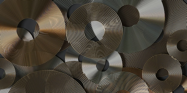Spirales dorées et argentées de rendu 3d sur fond gris